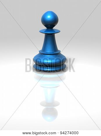 Blue Chess Pawn Isolated