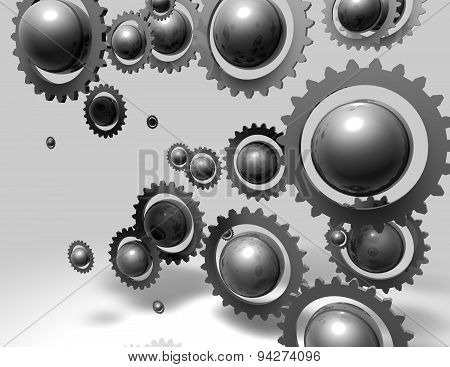 Abstract Metal Gears And Ball Illustration Background