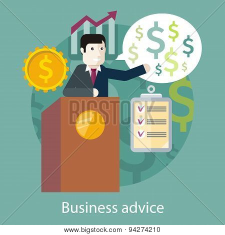 Business Advice. Cartoon Speaker on the Podium
