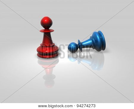 Two Chess Pawns Red And Blue Fight Isolated Illustration
