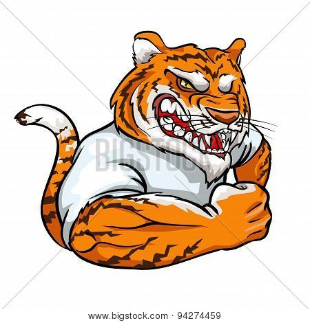 Tiger mascot, team label design.