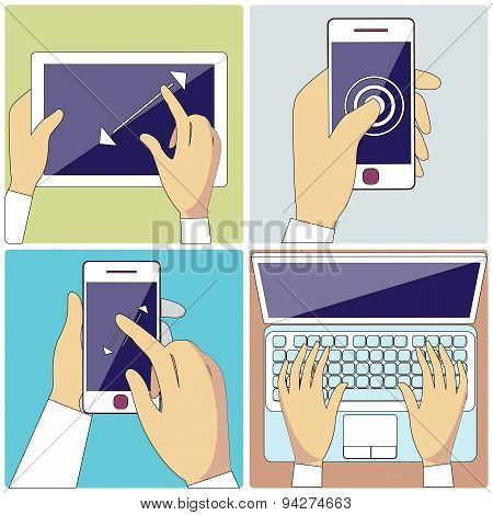 Human Hands Holding Digital Devices