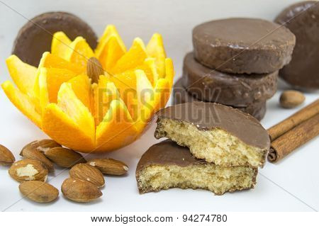 Dark Chocolate Cookies Decorated With Fresh Orange