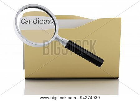3D Magnifying Glass Examine Candidates In Folder