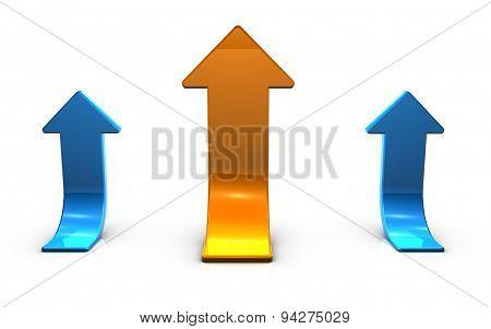 3D Blue Up Arrows Financial Success Concept Illustration