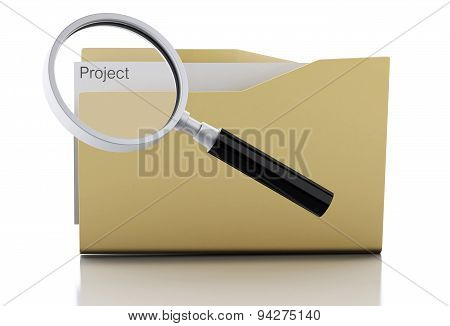 3D Magnifying Glass Examine Project In Folder