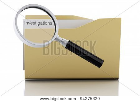 3D Magnifying Glass Examine Investigations In Folder