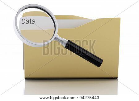 3D Magnifying Glass Examine Data In Folder