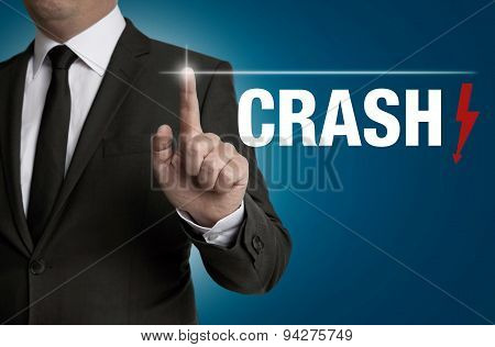 Crash Touchscreen Is Operated By Businessman