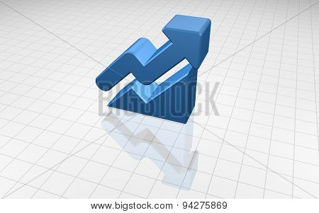 3D Blue Up Arrow With Graph
