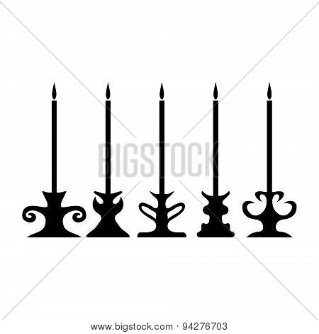 Old-fashioned Candle Silhouette Set