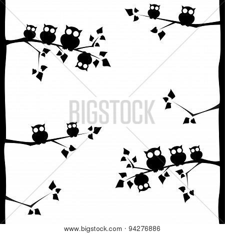 Owls On Branches Seamless Pattern