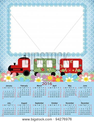 Illustration Calendar For 2016 In Kids Design