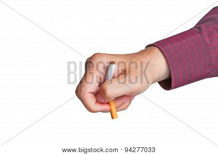 Man breaks a cigarette