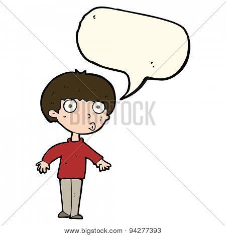 cartoon surprised boy with speech bubble