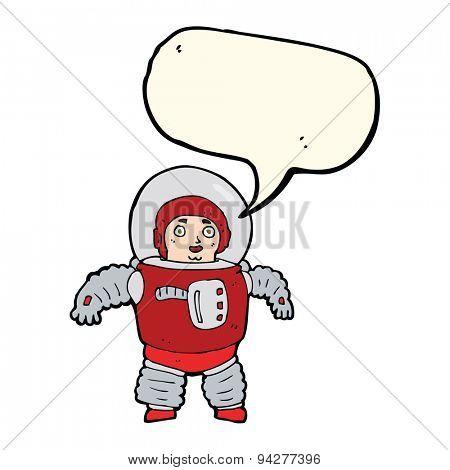 cartoon space man with speech bubble