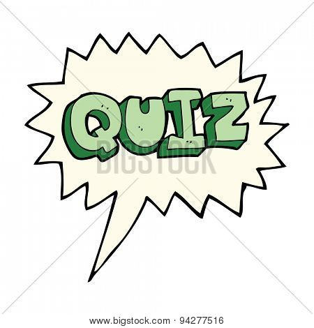 cartoon quiz sign with speech bubble
