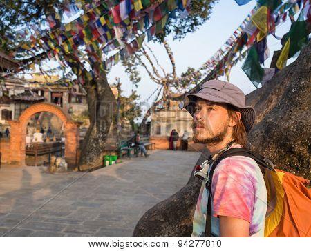 A man near the Buddhist stupa