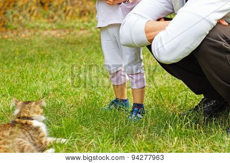 Friends - man, his daughter and cat