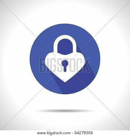 Lock heart icon.  Eps 10