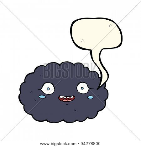 happy cartoon cloud with speech bubble