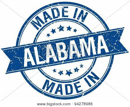 Made In Alabama Blue Round Vintage Stamp