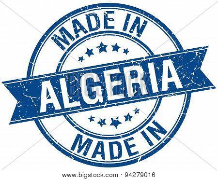 Made In Algeria Blue Round Vintage Stamp