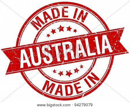 Made In Australia Red Round Vintage Stamp