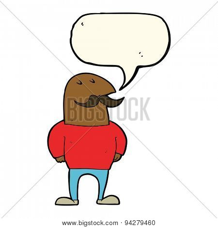 cartoon bald man with mustache with speech bubble