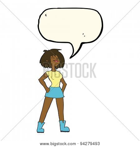 cartoon capable woman with speech bubble