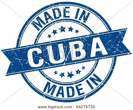 Made In Cuba Blue Round Vintage Stamp