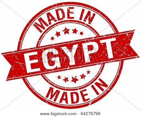 Made In Egypt Red Round Vintage Stamp