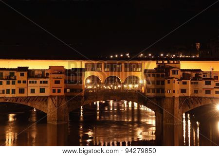 Ponte Vecchio At Night - Florence - Italy