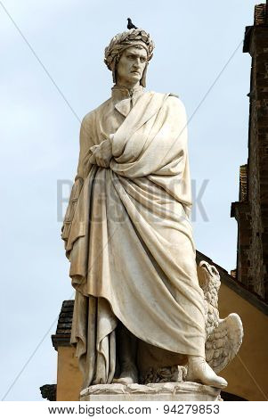 Statue Of Dante In Piazza Santa Croce In Florence - Italy