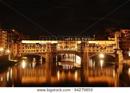 View Of The Old Bridge At Night - Florence - Italy
