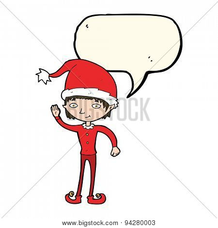 cartoon waving christmas elf with speech bubble