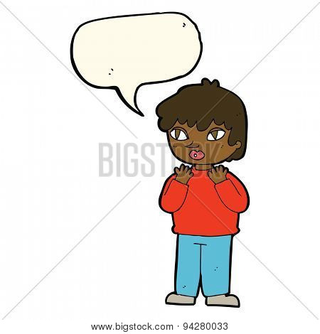 cartoon worried person with speech bubble