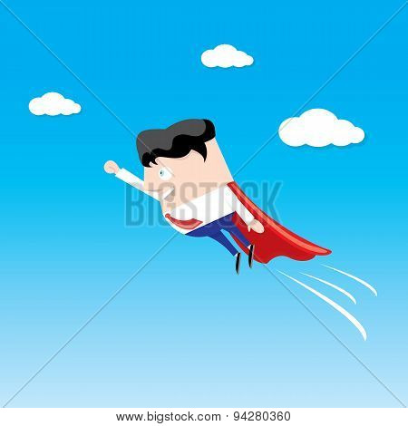 business man flying. vector illustration.