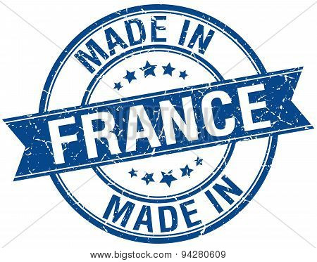 Made In France Blue Round Vintage Stamp