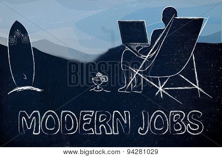 Modern Jobs: Man With His Laptop On The Beach