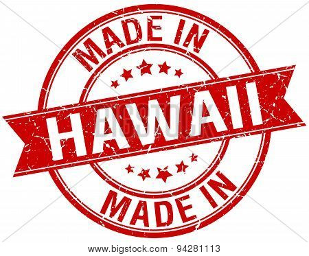 Made In Hawaii Red Round Vintage Stamp
