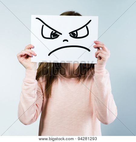 Woman Holding A Cardboard With A Angry Face