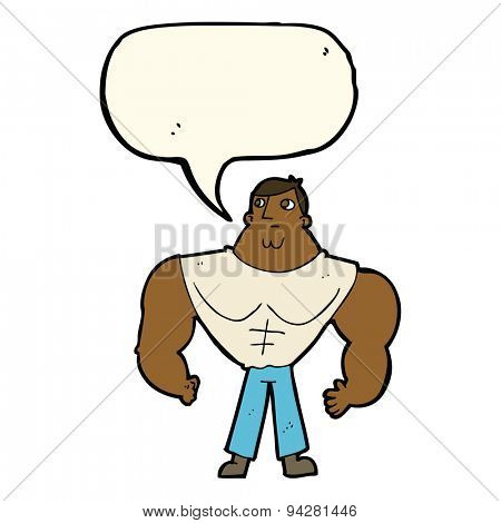 cartoon body builder with speech bubble