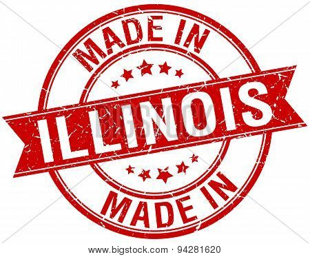 Made In Illinois Red Round Vintage Stamp
