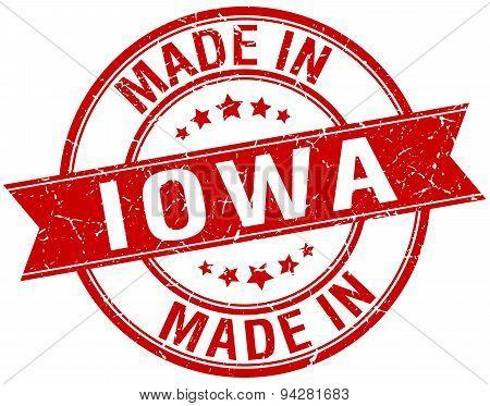 Made In Iowa Red Round Vintage Stamp