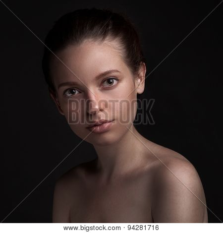 closeup studio portrait of beauty woman