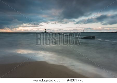 Beautiful Dramatic Weather Seascape Of Baltic Sea
