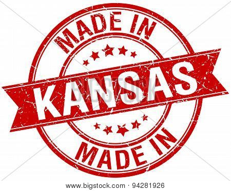 Made In Kansas Red Round Vintage Stamp