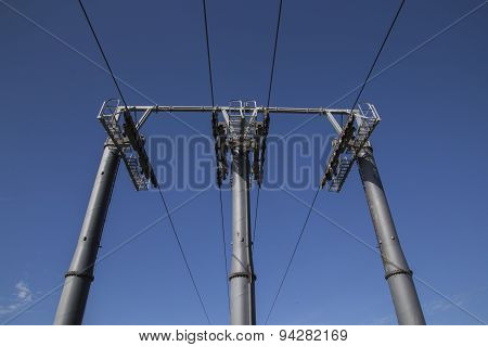 Pole for cable car
