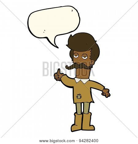 cartoon old man in poor clothes with speech bubble